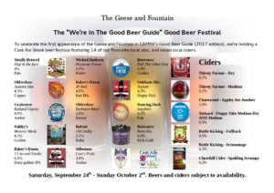 Beer and Cider list for the Good Beer Guide celebration Cask Ale Week local beer festival